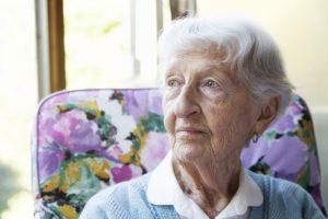 pensive senior woman, austin senior care